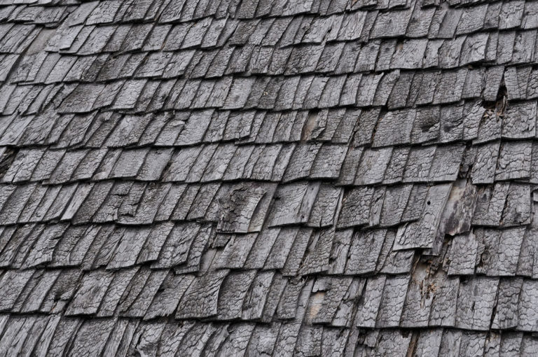 Wood shingle roof damage